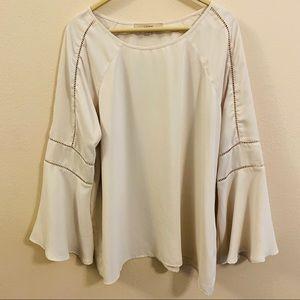 LOFT Flowy Sleeve Cream Blouse - Large